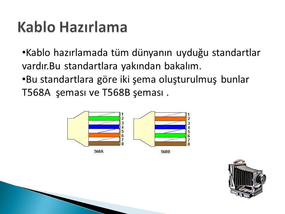 Kablo hazırlamada tüm dünyanın uyduğu standartlar vardır.Bu standartlara yakından bakalım. Bu standartlara göre iki şema oluşturulmuş bunlar T568A şem