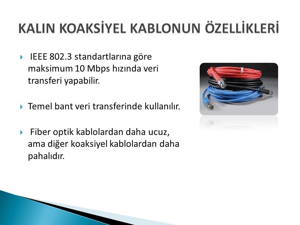  IEEE 802.3 standartlarına göre maksimum 10 Mbps hızında veri transferi yapabilir.  Temel bant veri transferinde kullanılır.  Fiber optik kablolard