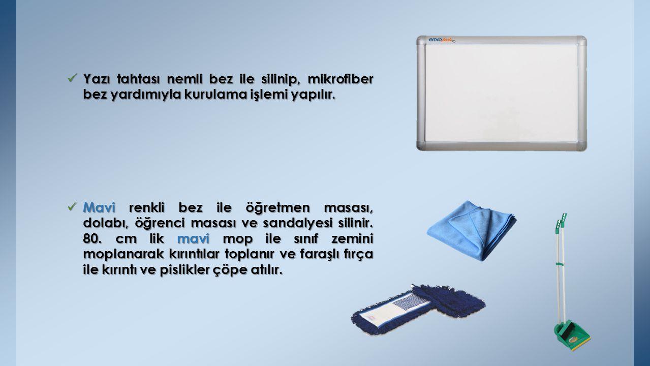 Yazı tahtası nemli bez ile silinip, mikrofiber bez yardımıyla kurulama işlemi yapılır.