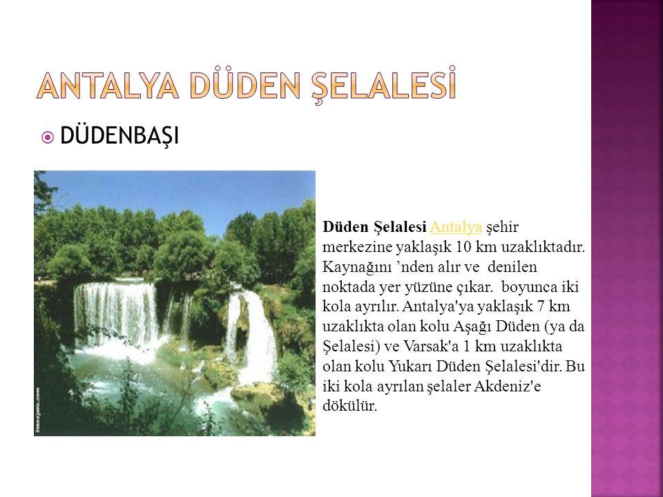  DÜDENBAŞI Düden Şelalesi Antalya şehir merkezine yaklaşık 10 km uzaklıktadır.
