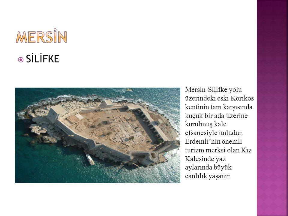  SİLİFKE Mersin-Silifke yolu üzerindeki eski Korikos kentinin tam karşısında küçük bir ada üzerine kurulmuş kale efsanesiyle ünlüdür.