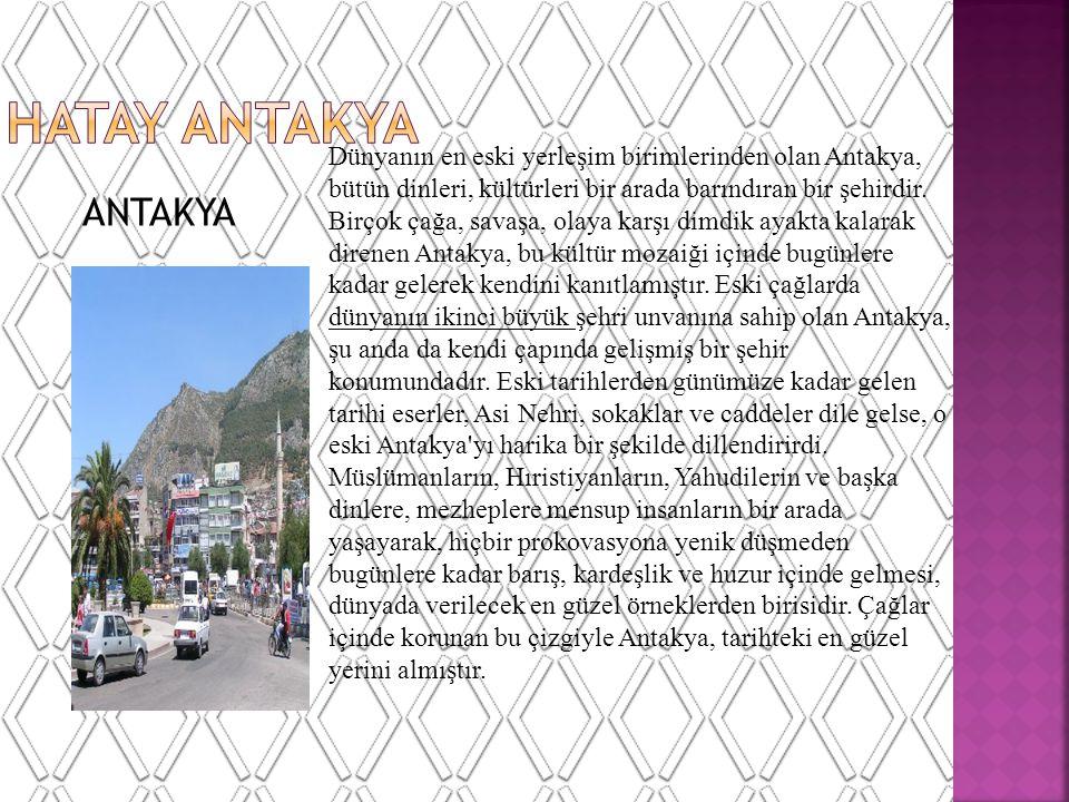 ANTAKYA Dünyanın en eski yerleşim birimlerinden olan Antakya, bütün dinleri, kültürleri bir arada barındıran bir şehirdir.