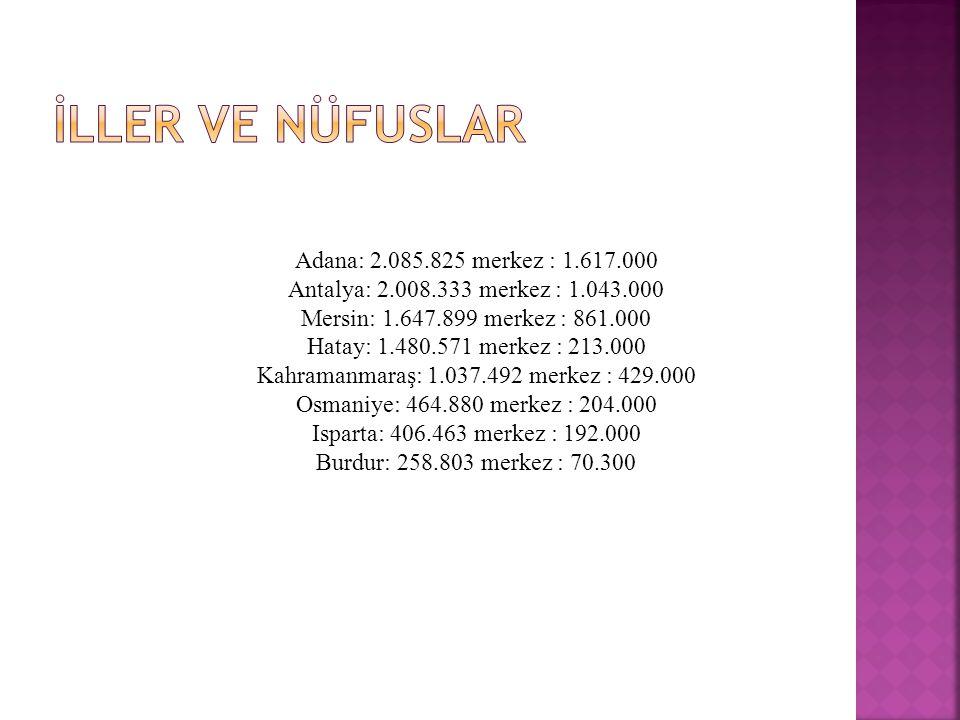 Adana: 2.085.825 merkez : 1.617.000 Antalya: 2.008.333 merkez : 1.043.000 Mersin: 1.647.899 merkez : 861.000 Hatay: 1.480.571 merkez : 213.000 Kahramanmaraş: 1.037.492 merkez : 429.000 Osmaniye: 464.880 merkez : 204.000 Isparta: 406.463 merkez : 192.000 Burdur: 258.803 merkez : 70.300