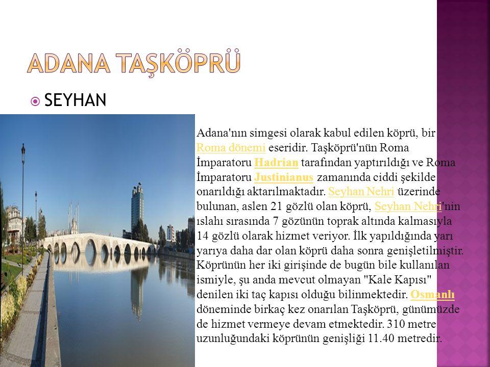  SEYHAN Adana nın simgesi olarak kabul edilen köprü, bir Roma dönemi eseridir.