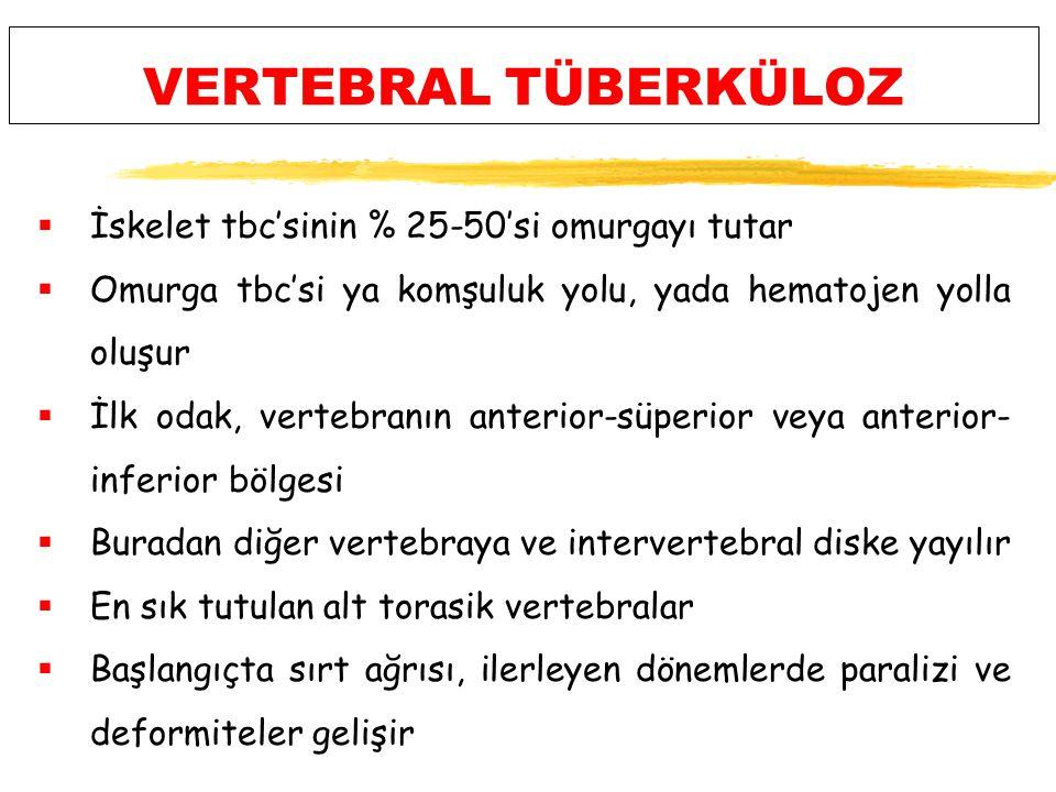 VERTEBRAL TÜBERKÜLOZ  İskelet tbc'sinin % 25-50'si omurgayı tutar  Omurga tbc'si ya komşuluk yolu, yada hematojen yolla oluşur  İlk odak, vertebranın anterior-süperior veya anterior- inferior bölgesi  Buradan diğer vertebraya ve intervertebral diske yayılır  En sık tutulan alt torasik vertebralar  Başlangıçta sırt ağrısı, ilerleyen dönemlerde paralizi ve deformiteler gelişir