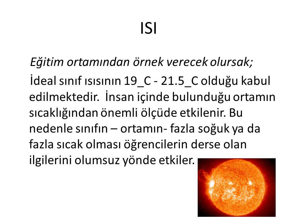 ISI Eğitim ortamından örnek verecek olursak; İdeal sınıf ısısının 19_C - 21.5_C olduğu kabul edilmektedir.