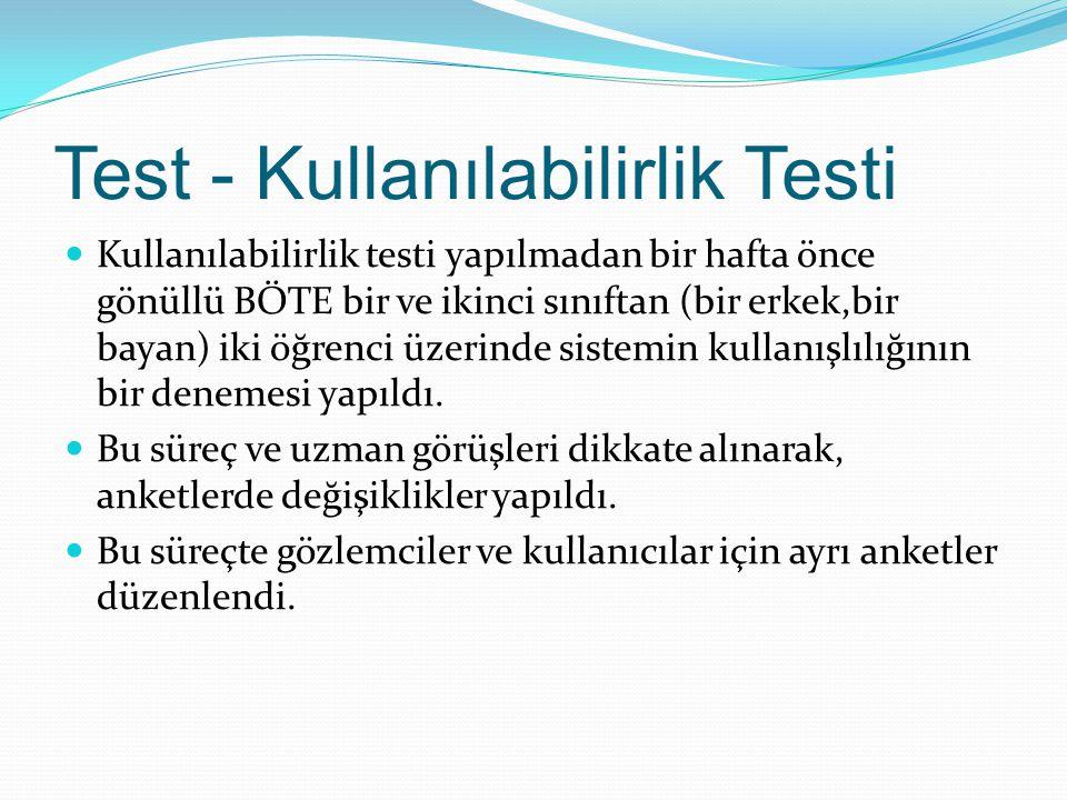 Test - Kullanılabilirlik Testi Kullanılabilirlik testi yapılmadan bir hafta önce gönüllü BÖTE bir ve ikinci sınıftan (bir erkek,bir bayan) iki öğrenci üzerinde sistemin kullanışlılığının bir denemesi yapıldı.