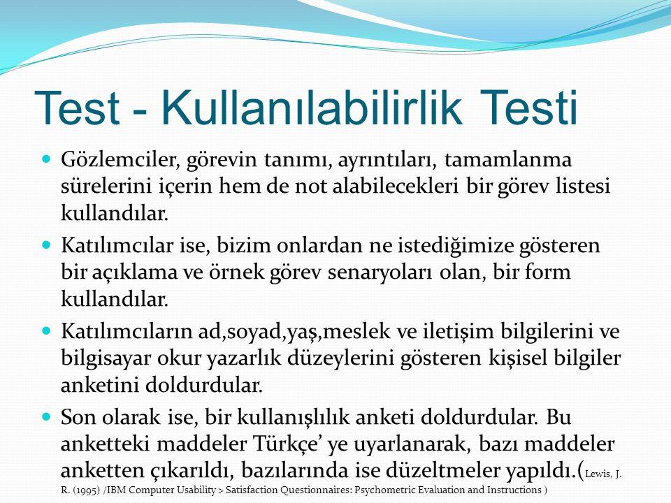 Test - Kullanılabilirlik Testi Gözlemciler, görevin tanımı, ayrıntıları, tamamlanma sürelerini içerin hem de not alabilecekleri bir görev listesi kullandılar.
