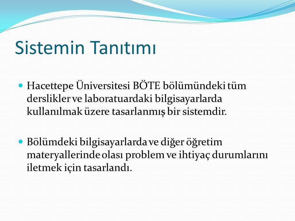 Sistemin Tanıtımı Hacettepe Üniversitesi BÖTE bölümündeki tüm derslikler ve laboratuardaki bilgisayarlarda kullanılmak üzere tasarlanmış bir sistemdir.