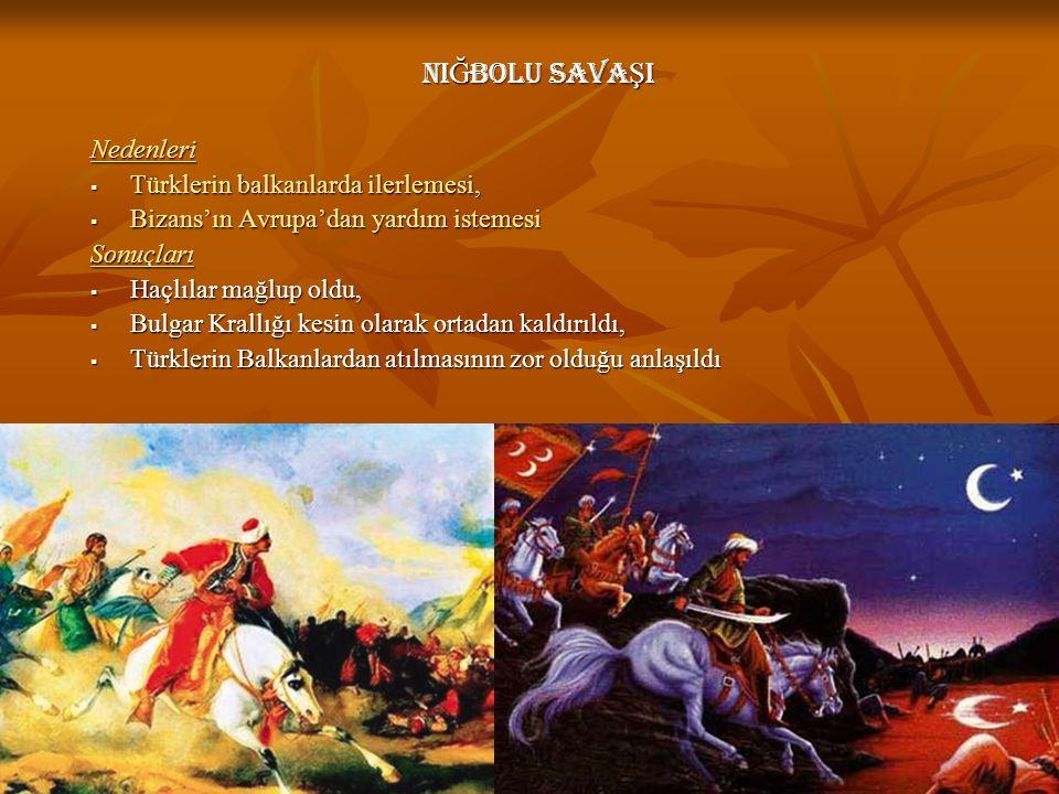 Ni Ğ BOLU SAVA Ş I Nedenleri  Türklerin balkanlarda ilerlemesi,  Bizans'ın Avrupa'dan yardım istemesi Sonuçları  Haçlılar mağlup oldu,  Bulgar Kra