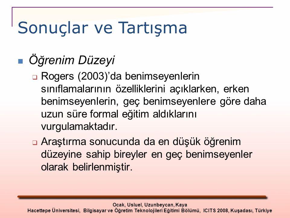 Öğrenim Düzeyi  Rogers (2003)'da benimseyenlerin sınıflamalarının özelliklerini açıklarken, erken benimseyenlerin, geç benimseyenlere göre daha uzun