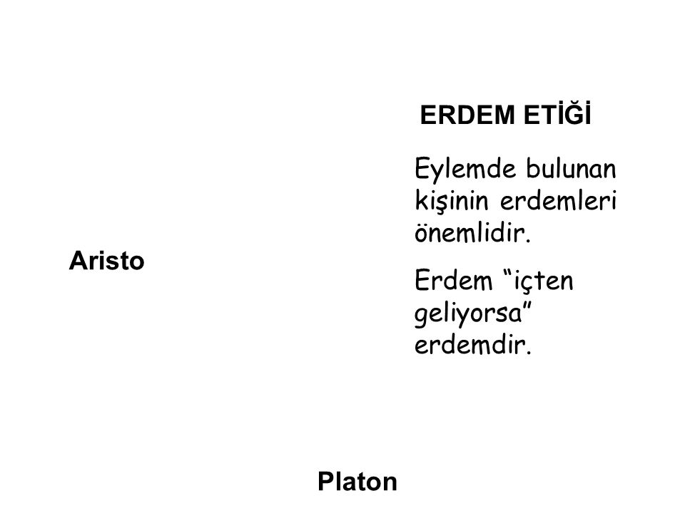 """Aristo Platon ERDEM ETİĞİ Eylemde bulunan kişinin erdemleri önemlidir. Erdem """"içten geliyorsa"""" erdemdir."""