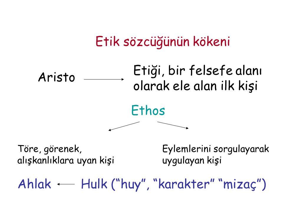 Etik sözcüğünün kökeni Aristo Etiği, bir felsefe alanı olarak ele alan ilk kişi Ethos Töre, görenek, alışkanlıklara uyan kişi Eylemlerini sorgulayarak uygulayan kişi Ahlak Hulk ( huy , karakter mizaç )