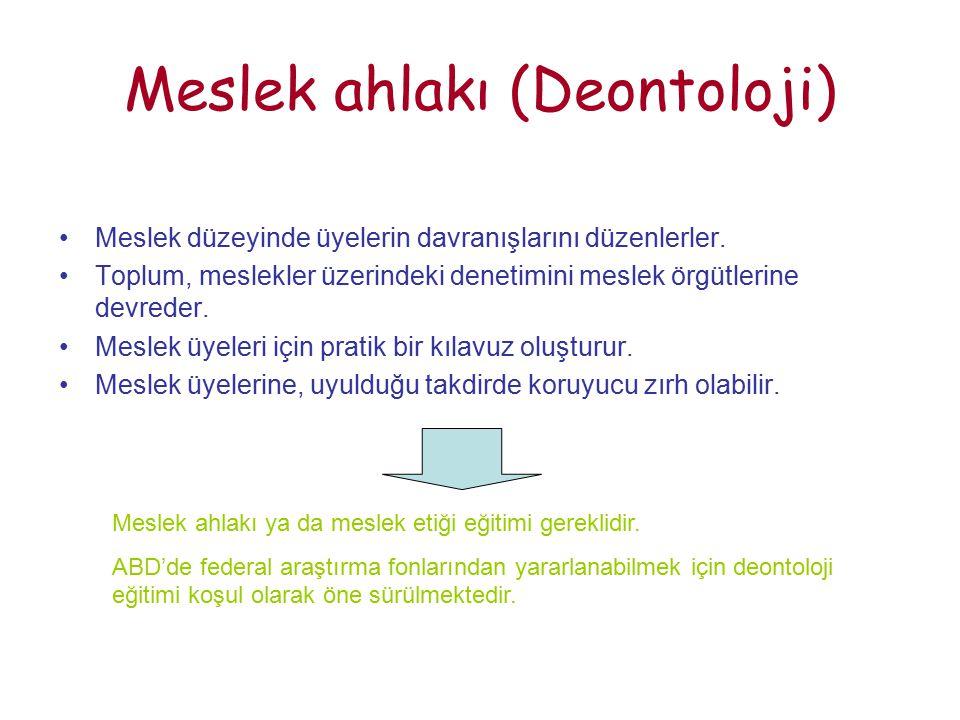 Meslek ahlakı (Deontoloji) Meslek düzeyinde üyelerin davranışlarını düzenlerler.