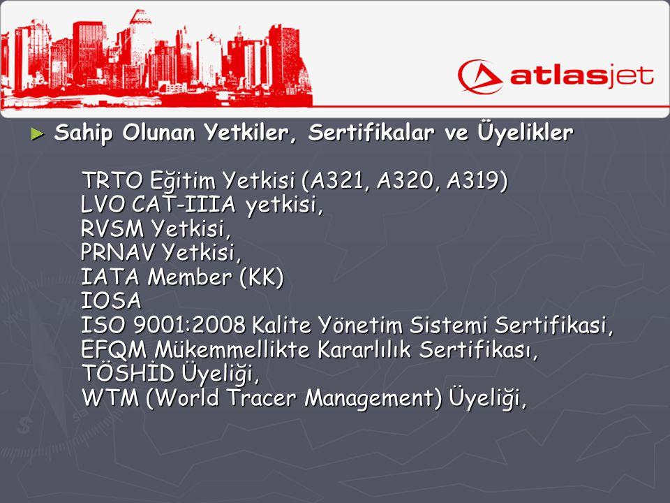 ► Sahip Olunan Yetkiler, Sertifikalar ve Üyelikler TRTO Eğitim Yetkisi (A321, A320, A319) LVO CAT-IIIA yetkisi, RVSM Yetkisi, PRNAV Yetkisi, IATA Memb