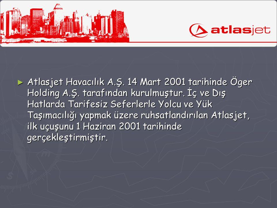► Atlasjet Havacılık A.Ş. 14 Mart 2001 tarihinde Öger Holding A.Ş. tarafından kurulmuştur. İç ve Dış Hatlarda Tarifesiz Seferlerle Yolcu ve Yük Taşıma
