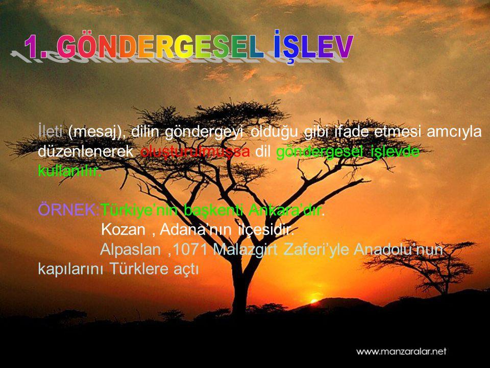 İleti (mesaj), dilin göndergeyi olduğu gibi ifade etmesi amcıyla düzenlenerek oluşturulmuşsa dil göndergesel işlevde kullanılır. ÖRNEK:Türkiye'nin baş