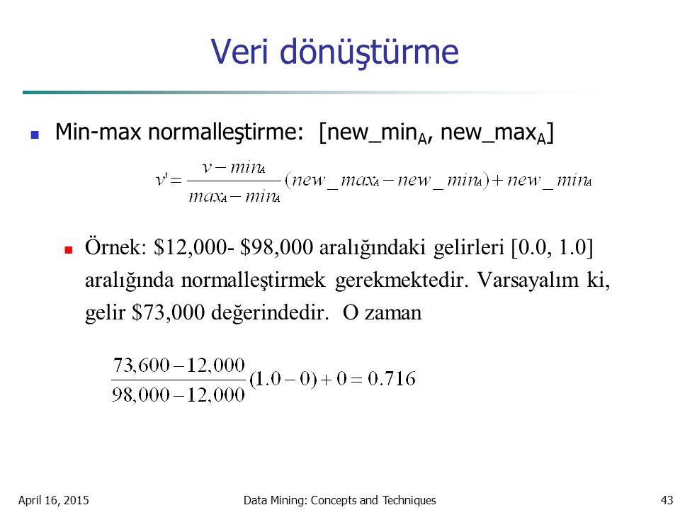 April 16, 2015Data Mining: Concepts and Techniques43 Veri dönüştürme Min-max normalleştirme: [new_min A, new_max A ] Örnek: $12,000- $98,000 aralığınd