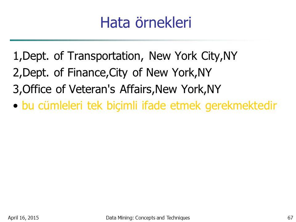 Hata örnekleri 1,Dept. of Transportation, New York City,NY 2,Dept. of Finance,City of New York,NY 3,Office of Veteran's Affairs,New York,NY bu cümlele