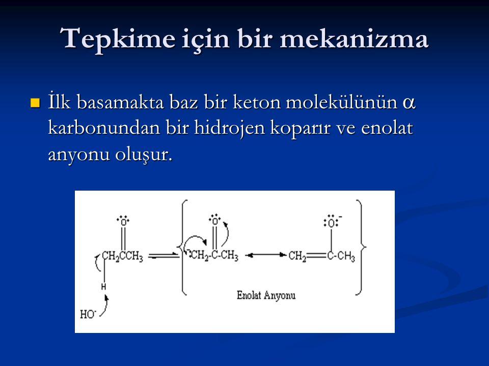 Tepkime için bir mekanizma İlk basamakta baz bir keton molekülünün  karbonundan bir hidrojen koparır ve enolat anyonu oluşur. İlk basamakta baz bir k