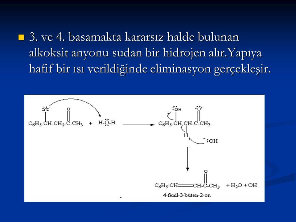 3. ve 4. basamakta kararsız halde bulunan alkoksit anyonu sudan bir hidrojen alır.Yapıya hafif bir ısı verildiğinde eliminasyon gerçekleşir. 3. ve 4.