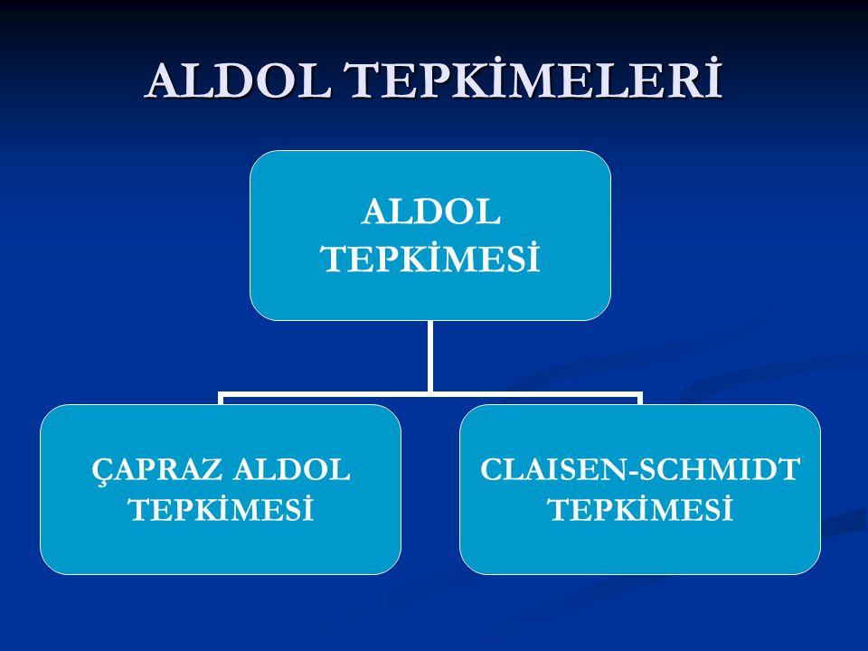 ALDOL TEPKİMELERİ ALDOL TEPKİMESİ ÇAPRAZ ALDOL TEPKİMESİ CLAISEN- SCHMIDT TEPKİMESİ