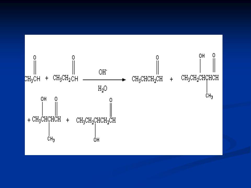 Asetaldehit ve propanal baz eşliğinde tepkimeye girdiklerinde çapraz aldol tepkimesi sonucu 4 farklı ürün elde edilir.Bu ürünlerden biri iki asetaldehit molekülünün etkileşmesi sonucu,biri iki propanal molekülünün etkileşmesi sonucu diğer moleküller ise bir asetaldehit ve bir propanalin etkeileşmesi sonucu oluşur.