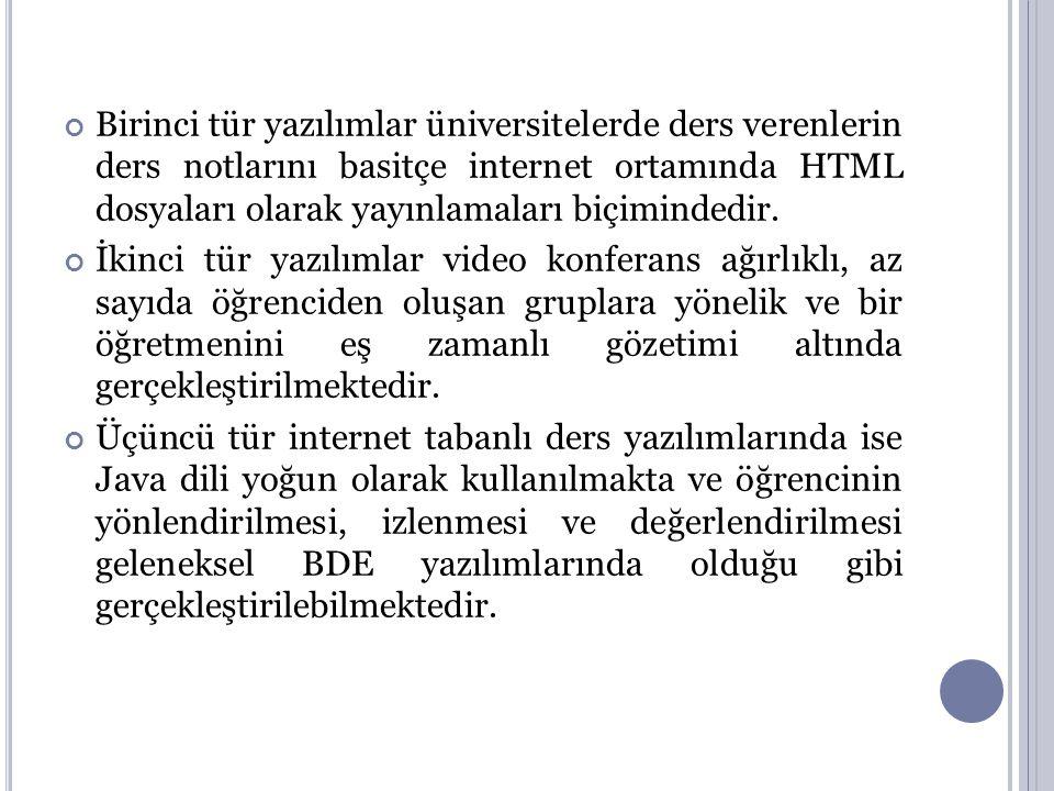 Birinci tür yazılımlar üniversitelerde ders verenlerin ders notlarını basitçe internet ortamında HTML dosyaları olarak yayınlamaları biçimindedir. İki