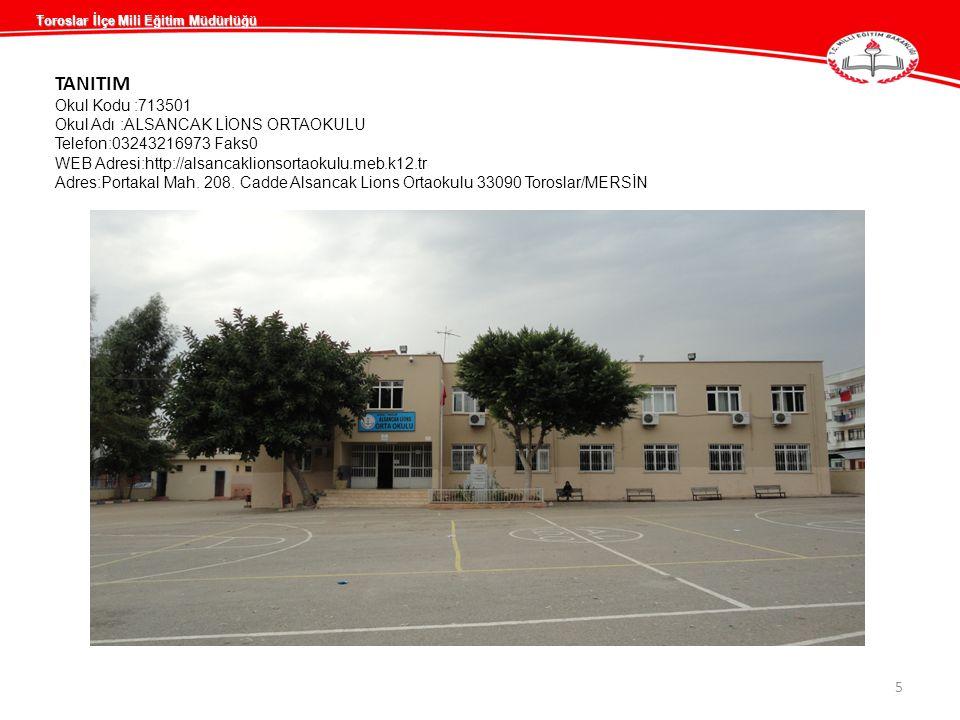 TANITIM Okul Kodu :713501 Okul Adı :ALSANCAK LİONS ORTAOKULU Telefon:03243216973 Faks0 WEB Adresi:http://alsancaklionsortaokulu.meb.k12.tr Adres:Porta