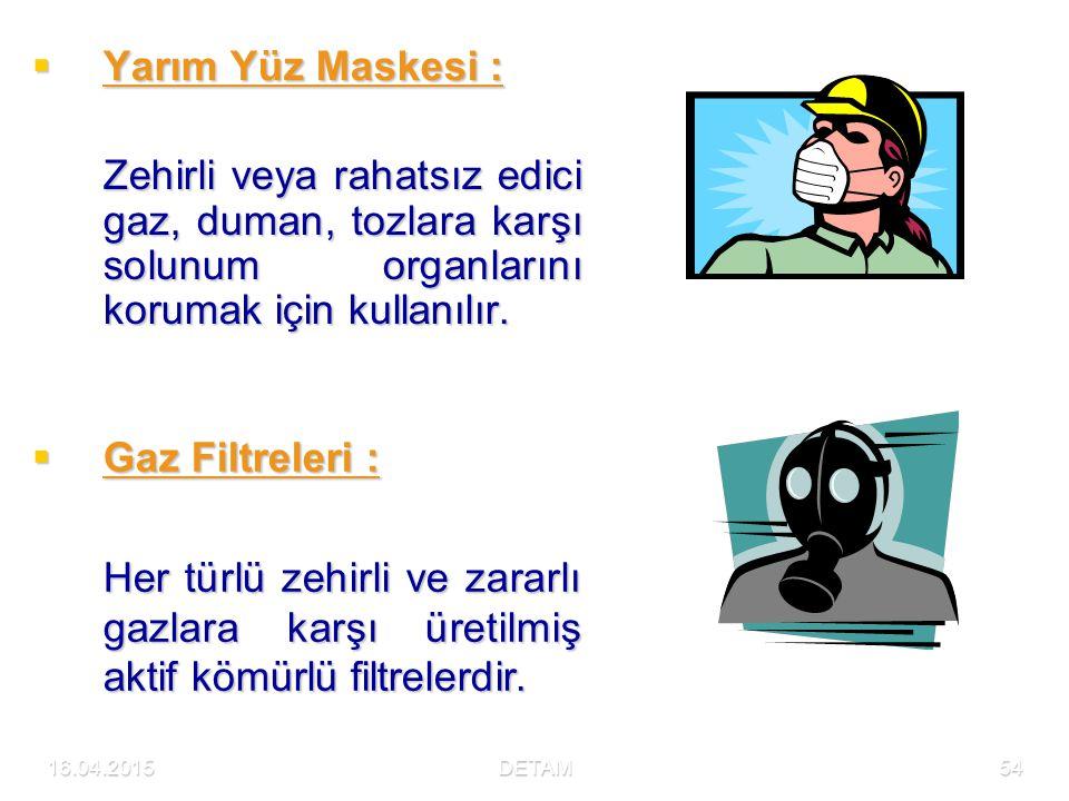 16.04.2015DETAM54  Yarım Yüz Maskesi : Zehirli veya rahatsız edici gaz, duman, tozlara karşı solunum organlarını korumak için kullanılır.