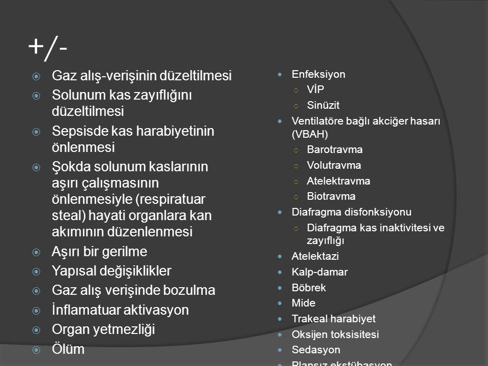 Ventilatörler 15 Değişkenler Yoğun bakım ventilatörleri Bilevel cihazlar İnspiratuar basınç+++++ Kaçak toleransı+++ Farklı modlar+++ Alarmlar+++ Monitörizasyon+++ Oksijen blendir+++