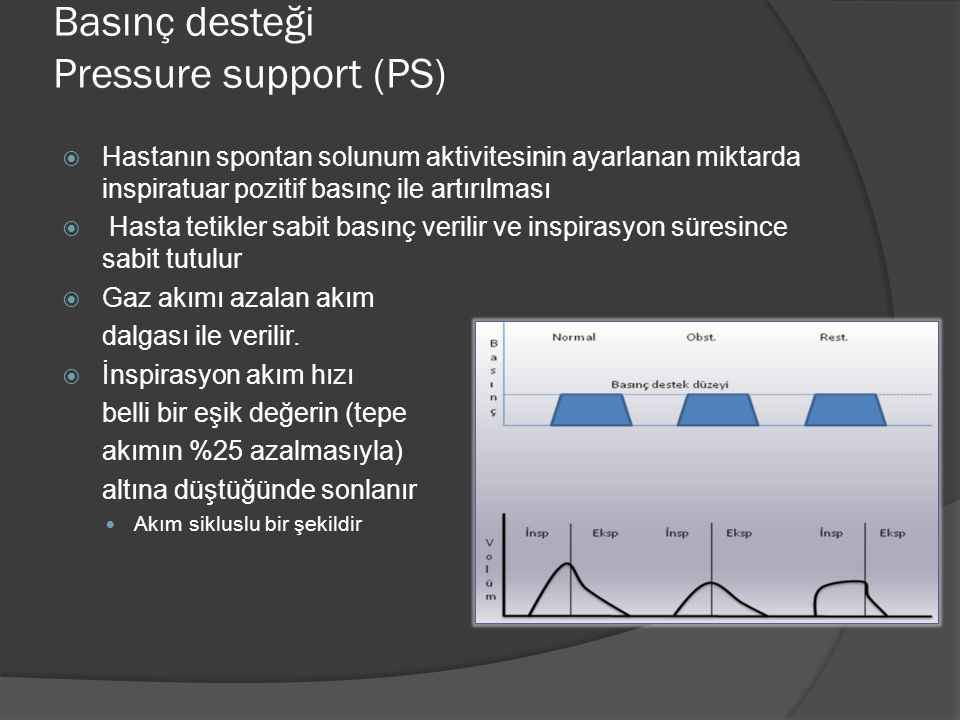Basınç desteği Pressure support (PS)  Hastanın spontan solunum aktivitesinin ayarlanan miktarda inspiratuar pozitif basınç ile artırılması  Hasta te