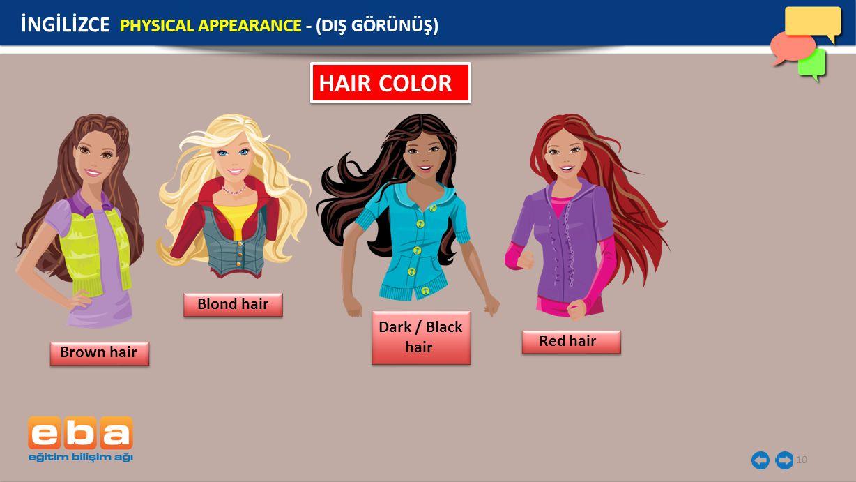10 HAIR COLOR İNGİLİZCE PHYSICAL APPEARANCE - (DIŞ GÖRÜNÜŞ) Brown hair Blond hair Dark / Black hair Red hair