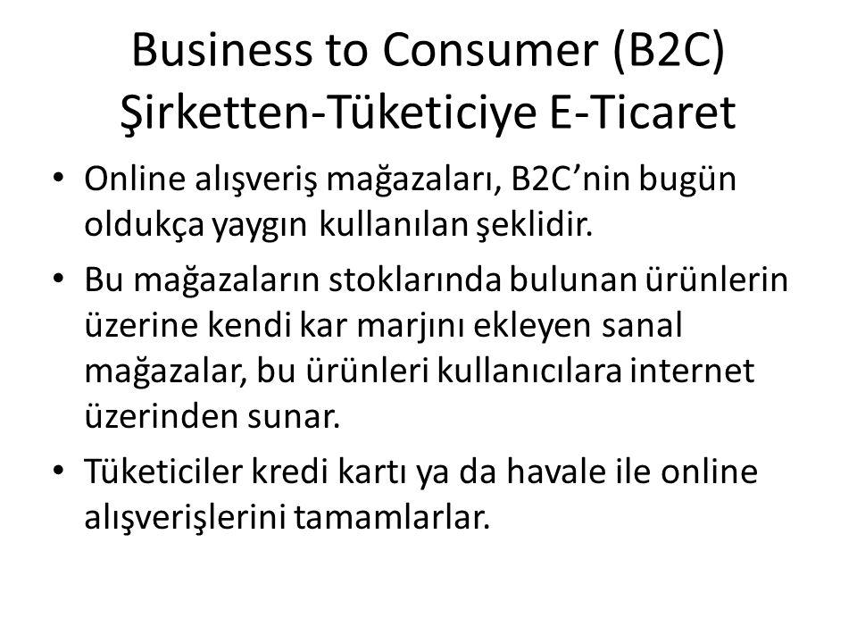 Business to Consumer (B2C) Şirketten-Tüketiciye E-Ticaret Online alışveriş mağazaları, B2C'nin bugün oldukça yaygın kullanılan şeklidir. Bu mağazaları