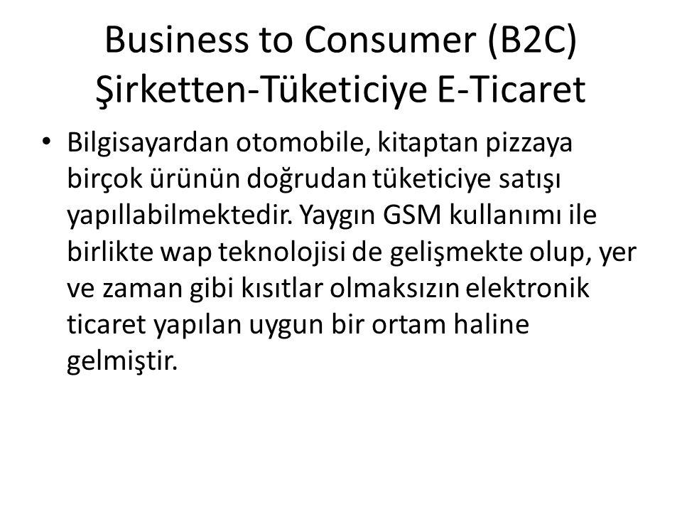 Business to Consumer (B2C) Şirketten-Tüketiciye E-Ticaret Bilgisayardan otomobile, kitaptan pizzaya birçok ürünün doğrudan tüketiciye satışı yapıllabi