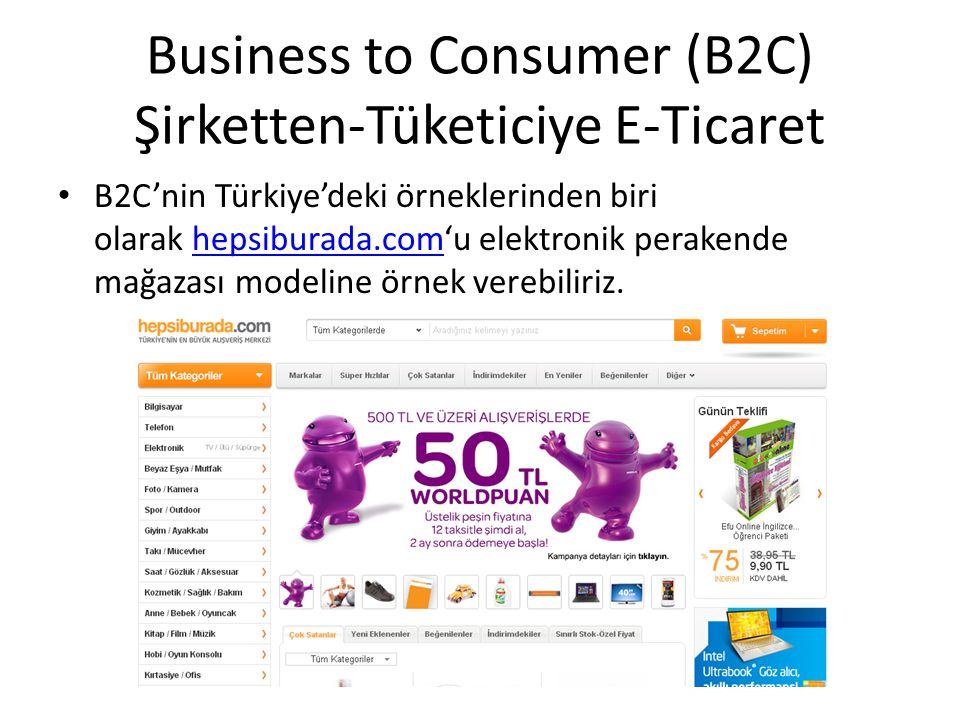 B2C'nin Türkiye'deki örneklerinden biri olarak hepsiburada.com'u elektronik perakende mağazası modeline örnek verebiliriz.hepsiburada.com