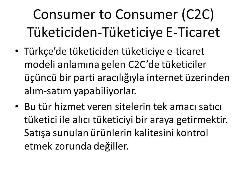 Consumer to Consumer (C2C) Tüketiciden-Tüketiciye E-Ticaret Türkçe'de tüketiciden tüketiciye e-ticaret modeli anlamına gelen C2C'de tüketiciler üçüncü