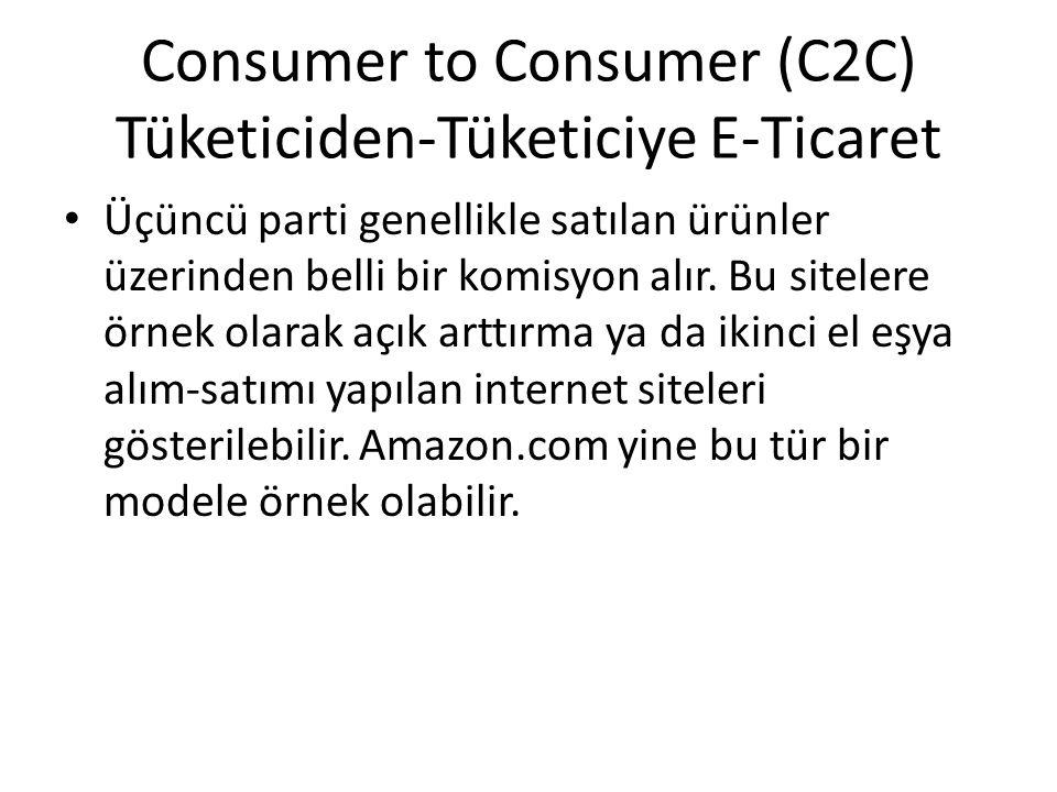 Consumer to Consumer (C2C) Tüketiciden-Tüketiciye E-Ticaret Üçüncü parti genellikle satılan ürünler üzerinden belli bir komisyon alır. Bu sitelere örn