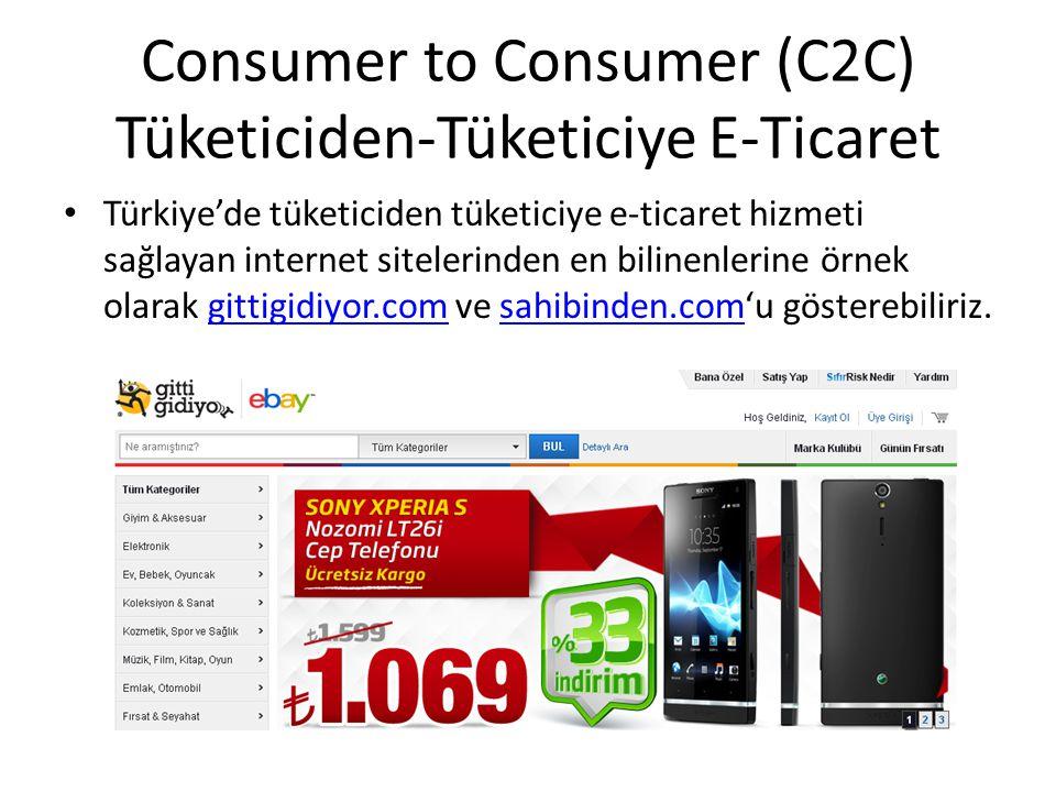 Consumer to Consumer (C2C) Tüketiciden-Tüketiciye E-Ticaret Türkiye'de tüketiciden tüketiciye e-ticaret hizmeti sağlayan internet sitelerinden en bili