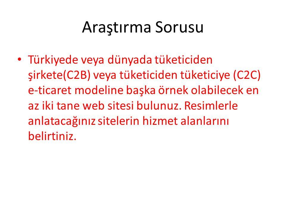 Araştırma Sorusu Türkiyede veya dünyada tüketiciden şirkete(C2B) veya tüketiciden tüketiciye (C2C) e-ticaret modeline başka örnek olabilecek en az iki