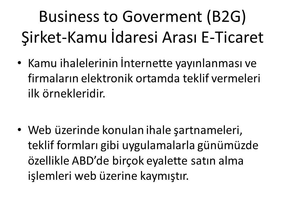 Business to Goverment (B2G) Şirket-Kamu İdaresi Arası E-Ticaret Kamu ihalelerinin İnternette yayınlanması ve firmaların elektronik ortamda teklif verm