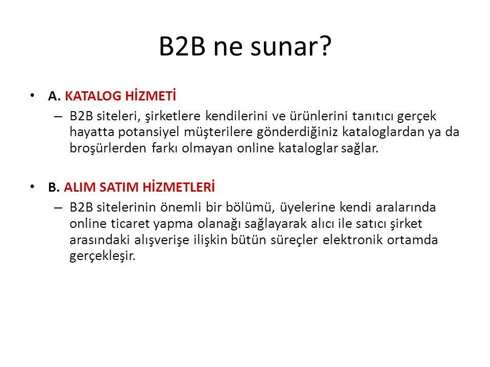 B2B ne sunar? A. KATALOG HİZMETİ – B2B siteleri, şirketlere kendilerini ve ürünlerini tanıtıcı gerçek hayatta potansiyel müşterilere gönderdiğiniz kat
