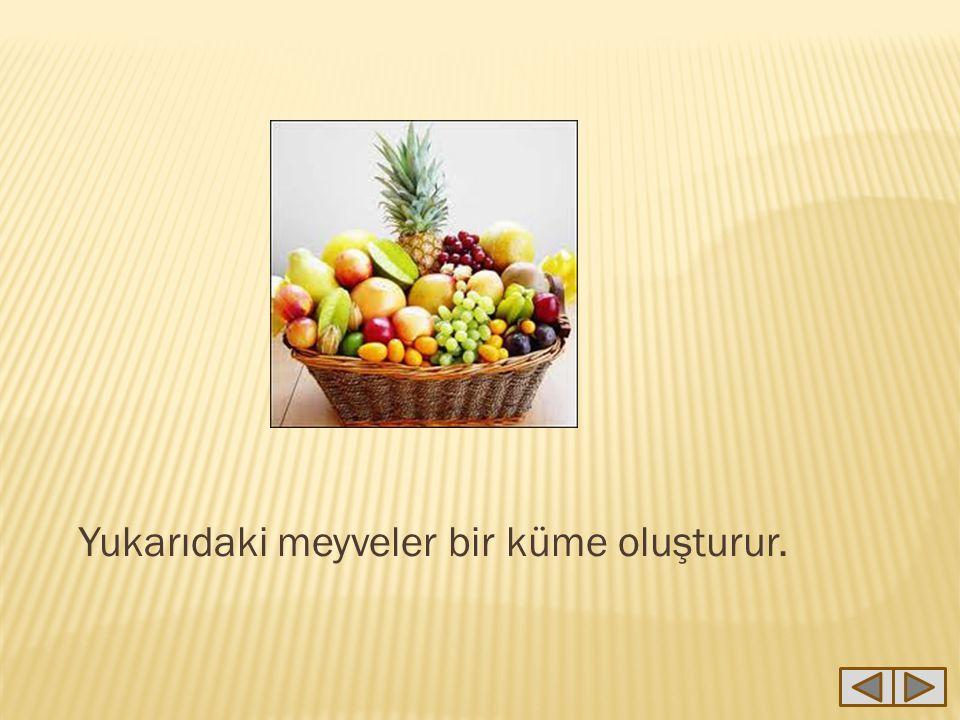 Yukarıda verilen sepetteki meyveler kümesine K kümesi diyelim.