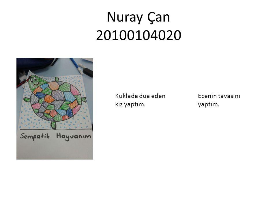 Nuray Çan 20100104020 Kuklada dua eden kız yaptım. Ecenin tavasını yaptım.