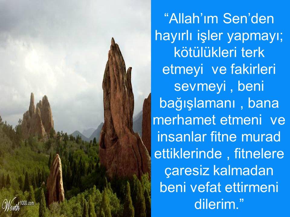 """""""Allah'ım Sen'den hayırlı işler yapmayı; kötülükleri terk etmeyi ve fakirleri sevmeyi, beni bağışlamanı, bana merhamet etmeni ve insanlar fitne murad"""