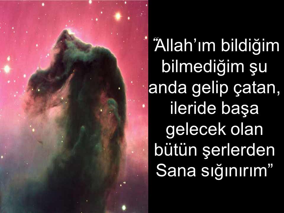 """"""" Allah'ım bildiğim bilmediğim şu anda gelip çatan, ileride başa gelecek olan bütün şerlerden Sana sığınırım"""""""
