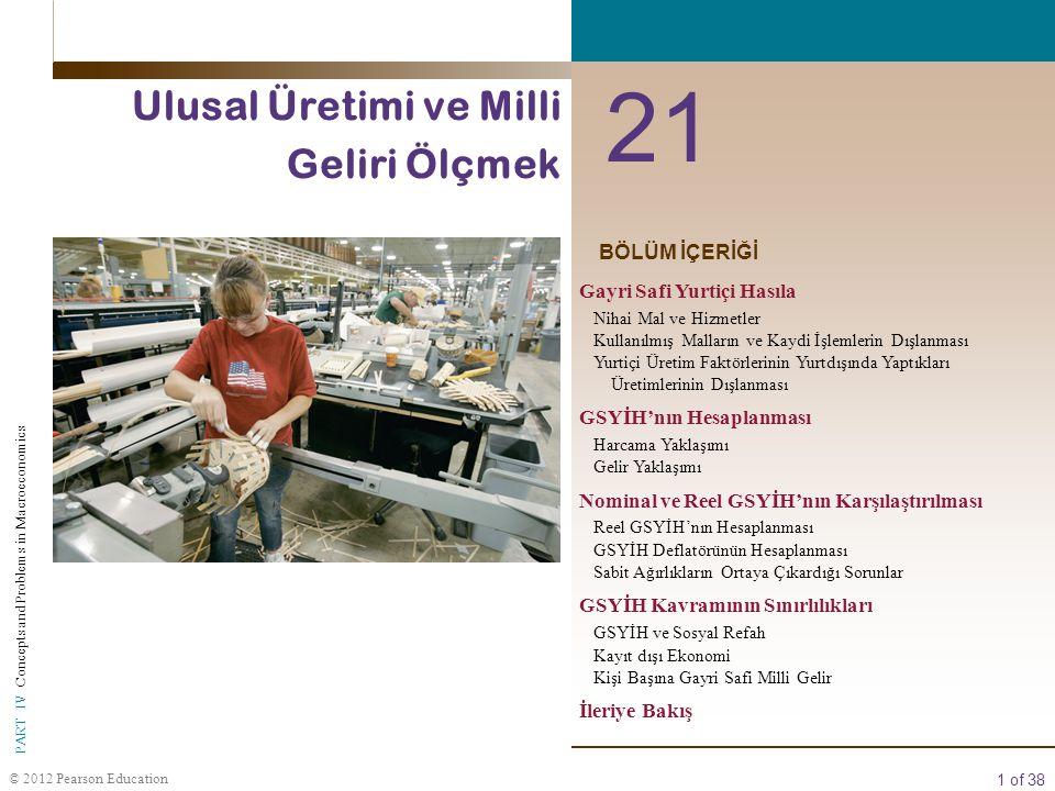 1 of 38 © 2012 Pearson Education PART IV Concepts and Problems in Macroeconomics BÖLÜM İÇERİĞİ 21 Ulusal Üretimi ve Milli Geliri Ölçmek Gayri Safi Yur
