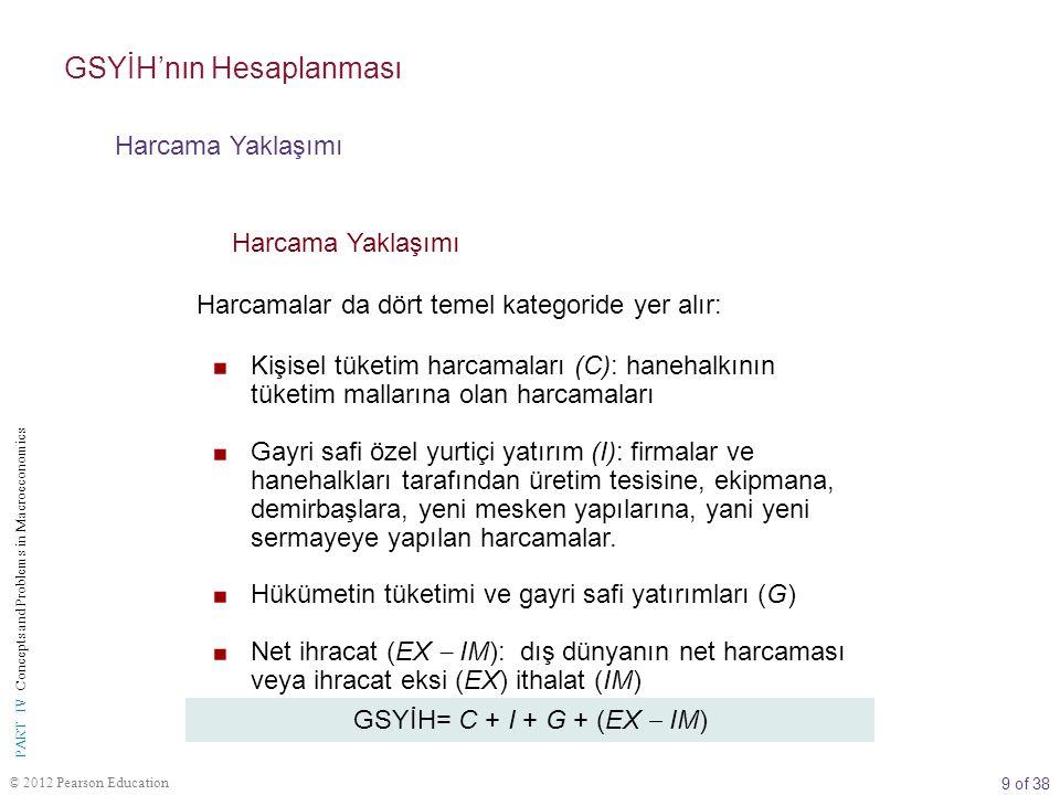 10 of 38 © 2012 Pearson Education PART IV Concepts and Problems in Macroeconomics GSYİH'nın Hesaplanması Harcama Yaklaşımı Kişisel Tüketim Harcamaları (C) kişisel tüketim harcamaları (C) Tüketiciler tarafından mal ve hizmetlere yapılan harcamalar.