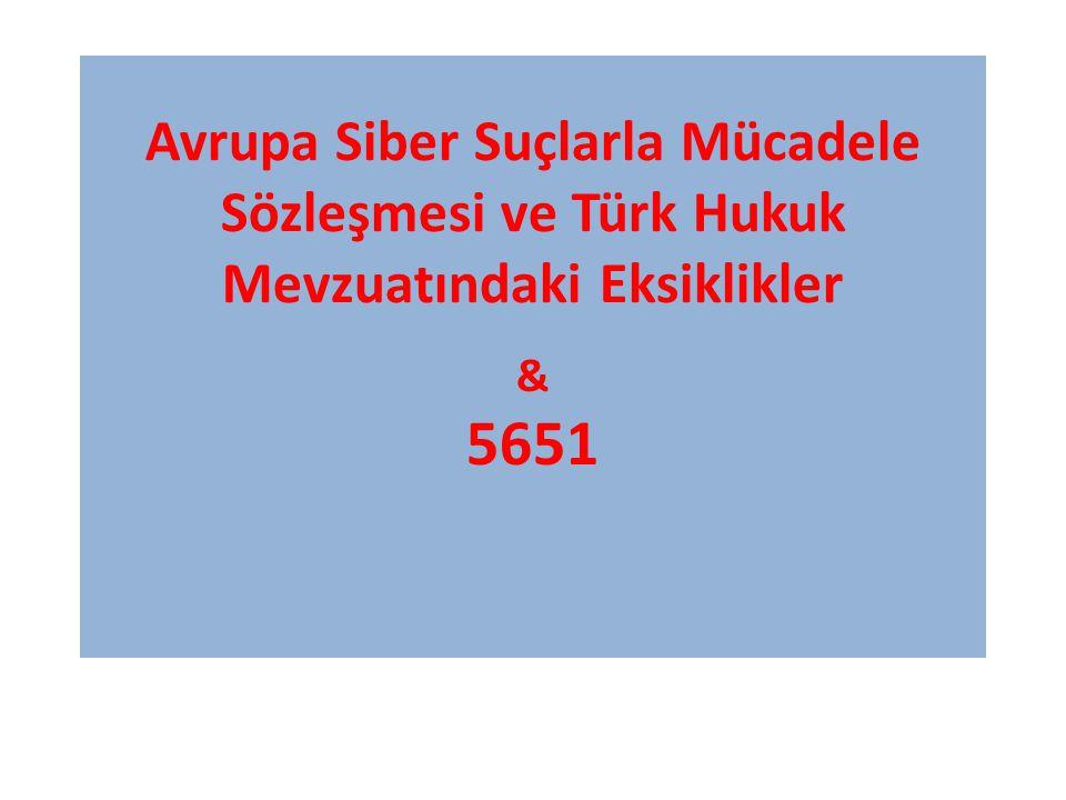 Avrupa Siber Suçlarla Mücadele Sözleşmesi ve Türk Hukuk Mevzuatındaki Eksiklikler & 5651