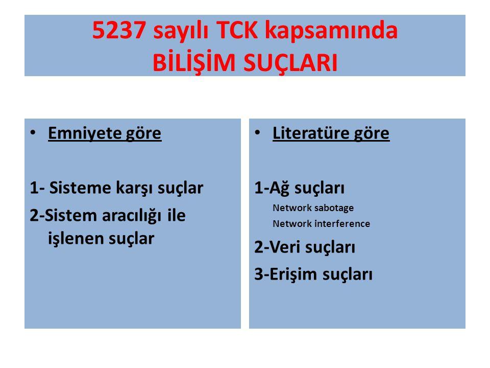 5237 sayılı TCK kapsamında BİLİŞİM SUÇLARI Emniyete göre 1- Sisteme karşı suçlar 2-Sistem aracılığı ile işlenen suçlar Literatüre göre 1-Ağ suçları Ne